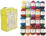 Mira Handcrafts 20 Acrylic Yarn Balls – Total of 800m Knitting and Crochet Yarn – Multicolour Yarn in Reusable Storage Yarn Bag and 7 Ebooks with Yarn Patterns