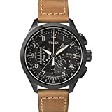 Timex Men's Quartz Watch Timex IQ Linear Indicator Chrono T2P277 with Leather Strap