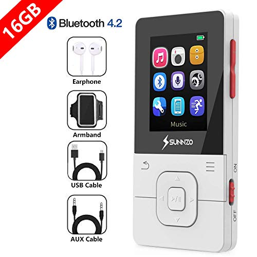 SUNNZO X16 Reproductor MP3 Bluetooth 4.2 16GB,con