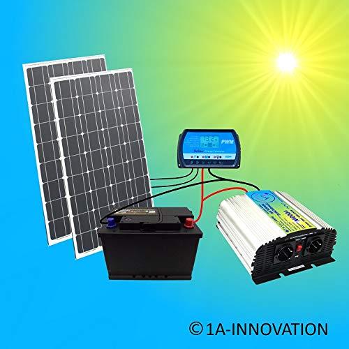 200W Solaranlage Komplettpaket 220V TÜV Komplettset Qualitäts 100Ah Akku wartungsfrei 2X 100W Hochleistung Solarmodul 1000W Qualitäts Spannungswandler