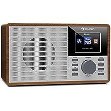 """auna IR-160 Radio de internet • Radio despertador • Radio digital • WiFi • Puerto USB compatible MP3/WMA • AUX • UPnP • Pantalla TFT 2.8"""" • Look retro • Control remoto o App • Chapa madera • Marrón"""