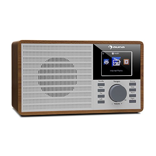 "auna IR-160 • Internetradio • Radiowecker • Digitalradio • WLAN • MP3/WMA-fähiger USB-Port • AUX • Wecker • Musikstreaming via UPnP • 2.8"" TFT-Farbdisplay • Fernbedienung • App-Steuerung • braun"