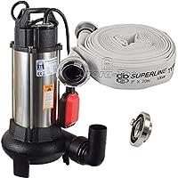Agora-Tec® AT- Baupumpe-C 1100W (mit Schneidwerk) Tauchpumpe für Schmutzwasser, Abwasser, für Fäkalien und organische Feststoffe mit Schwimmerschalter und max: 0,9 bar und max: 16000l/h inklusive C - STORZ Kupplung und (C-Schlauch: 20 Meter)