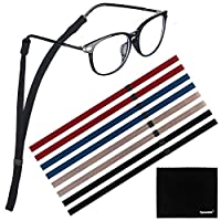 [8 Pack] Adjustable Eyeglasses and Sunglasses Holder Strap Cord for Sports, Tomorotec Polyester Eyeglass Retainer with One Free Microfiber Cleaning Cloths