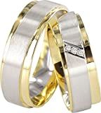 JC TRAURINGE 2 HEARTS COLLECTION 585er EHERINGE 14 KARAT GELB- & WEIßGOLD J126