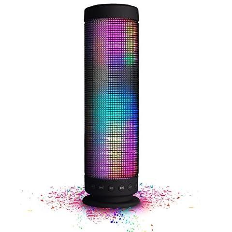 MUSIC ANGEL tragbarer kabelloser WLAN Lautsprecher mit Bluetooth 4.0 wireless Stereo 2400mAh Akku für 8 Stunden 5 LED Modus und innenpolitische Mikrofon für Indoors/Outdoors/Schauen