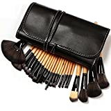 Fusine™ Professional 24 Piece All Natural Real Hair Makeup Brush Set - Handle Pcs Cosmetic Beauty Brushes Kit...