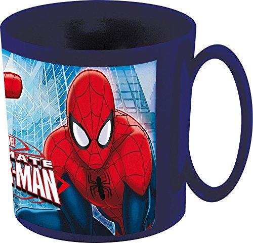Marvel Spiderman Tasse für Mikrowelle, 350 ml, 11 x 8 x 9 cm, Plastik, blau, 11x8.3x8.7 cm - Milch Tasse Mikrowelle