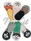 PinKit Girl's Women's No Show Socks 6 Pairs Pack Cotton Non Slip Low