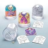 """Schneekugeln zum Ausmalen """"Ballerina"""" für Kinder zum Gestalten – Kreatives Bastelset für Kinder (4 Stück)"""