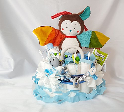 """'Gâteau de couches XXL–Horloge de jeu """"Baby Fehn + Attache Sucette & greifling avec nom –, Baby Shower, naissance ou baptême + sur demande, cadeau gratuit Carte de vœux"""