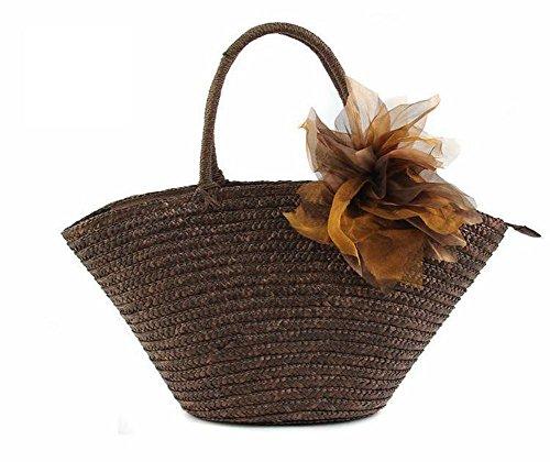 Schulter Stroh Blumen Handtasche Handgefertigte gestrickte Frauen Tote Solid Farbe Sommer Strand Tasche Casual deep coffee