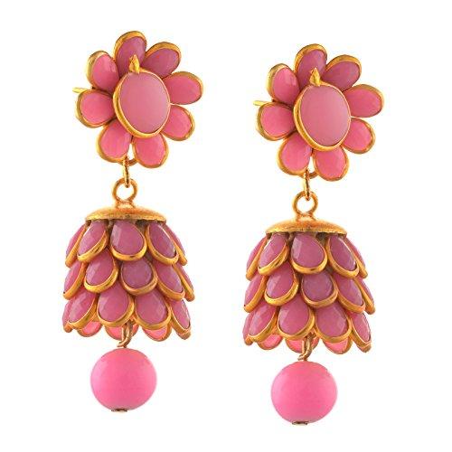 Zephyrr Fashion Jewellery Golden Pierced Jhumki Earrings with Rhinestones for Girls