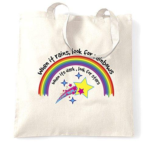 Quando piove, cercare Rainbows Slogan Stampare Realizzazione Motivational Sacchetto Di Tote White