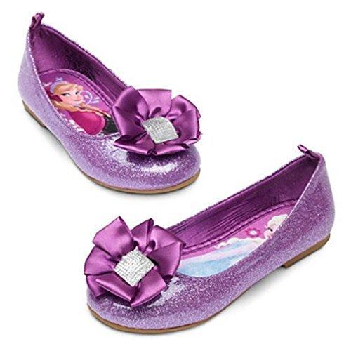 Disney Store Frozen Anna Elsa Purple Glitter Ballet Flat Shoes Slippers Size 8 by Disney -