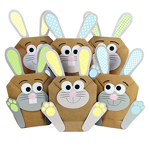 12 DIY Osterhasen Tüten - bunte Geschenktüten zu Ostern zum selber Befüllen - Frühling – zum Verpacken von Geschenken für Kinder und Erwachsene