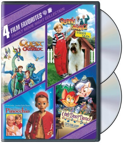4 Film Favorites: Family Movie Night (The Adventures of Pinocchio, Cats Don't Dance, Dennis the Menace Strikes Again, Quest For Camelot)