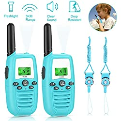 Gifort Talkie Walkie pour Enfants, Talky Walky Enfants Talkie-Walkies Talki Walki Flashlight VOX 16 Canaux 0.5W (1 Paire, Bleu)