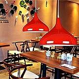CUICANH Moderno Color Sola cabeza Lámparas de araña,Nórdico Sencillo Personalidad Lámpara colgante Para Restaurante Bar Oficina-Gris-rojo 42x30cm(17x12inch)