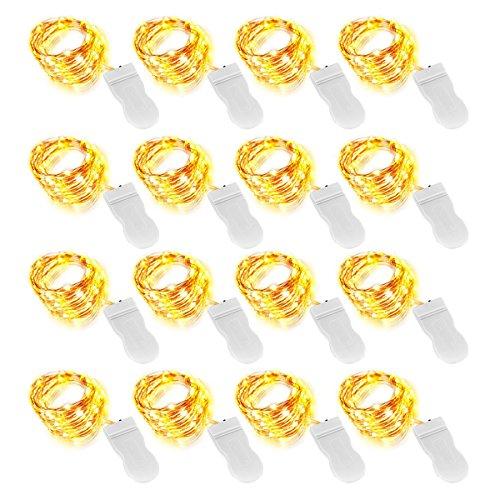 Onforu 16 Stück 3M 30er LED Lichterkette | Batteriebetriebene Micro Kupferdraht Sterne Lichterketten Warmweiß | IP65 Wasserfest | Geeignet für DIY-Unterhaltung, Hochzeit, Weihnachten, Party Deko etc. Inkl. Batterie (CR2032)