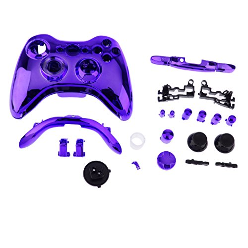 Wireless 360 Rosa Für Controller Xbox (Ersatz Shell Tasten Kit Schutzhülle Gehäuse Schutz Case Cover für Xbox 360 Wireless Game Controller - Lila)