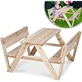 Infantastic Children's Table & Two Benches Set Kids Play Outdoor Garden Wooden Furniture