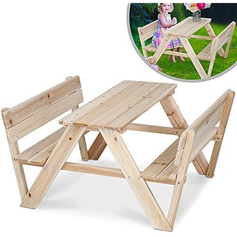 Infantastic - Mesa infantil de madera de cedro con dos bancos - perfecto para el jardín o terraza