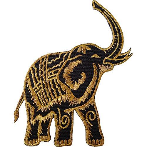 Hierro parche negro oro Tailandia Elefante bordado/para
