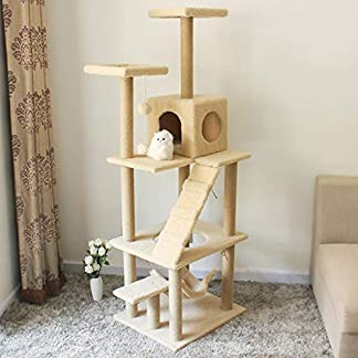 better cat tree, wooden large cat climbing frame with cat house and hammock floor cat tower activity center cat scratch board sl-001 Better Cat Tree, Wooden Large Cat Climbing Frame with Cat House and Hammock Floor Cat Tower Activity Center Cat Scratch Board SL-001 51JIBY 2BxgKL