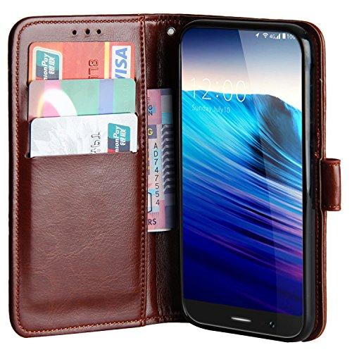 Raiphy Leder Brieftasche Hülle für Umidigi Crystal,Telefon schützender lederner Fall mit Einem Einbauschlitz und Standfunktion (Braun)