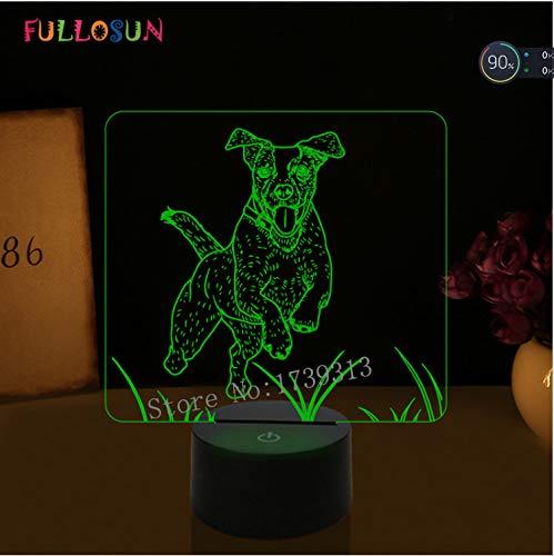 Nachtlicht Jack Russell Terrier Hund Lampe Kinder Baby Schlafzimmer Decora Tischlampe Unterstützung 3D Led Illusion Decora Jack