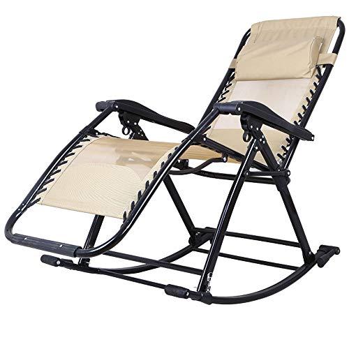 HUIFA Schaukelstuhl-Mittagspause Faltender Ruhesessel-fauler Stuhl-älterer Stuhl Der Lehnenden Couchfreizeit Erwachsenen (Farbe : Rocking Chair Splicing beige) (Outdoor-schaukelstuhl Klappstuhl)