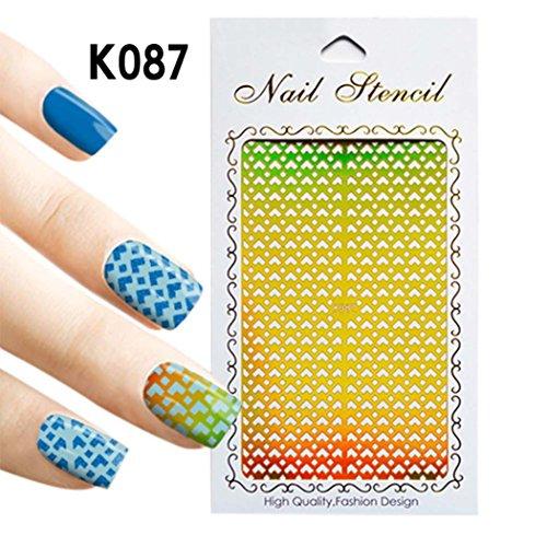 kalorywee 1Blatt NEU Nail Hohl Unregelmäßige Grid Schablone wiederverwendbar Maniküre Nail Art Stamping Schablone Sticker Werkzeuge