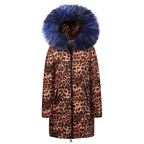 GreatestPAK Damen Mäntel Mittellang Leopardenmuster Baumwolle Daunenbaumwolle Mantel Winter Cotton...