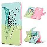 Handyhülle Case für Sony Xperia L2 Hülle Fliegende Vogelfedern Muster Flip Wallet Case Cover in Bookstyle Stand Kartenetui Schutzhülle PU Leder Hardcase Tasche mit Karteneinschub und Magnetverschluß