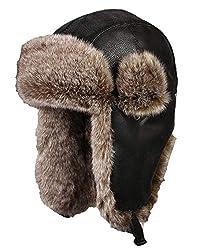 Insun Unisex Wintermütze Fliegermütze Trappermütze mit Kunstleder Fellmütze Herren Russenmütze Schwarz 1 L (Hut Umfang:58cm)