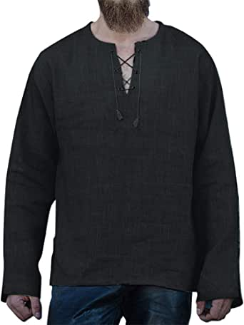 Mens Cotton Linen V-Neck Shirt Pullover Fashion Casual Loose Drawstring Belt Top Beach Long Sleeve T-Shirt S-4XL