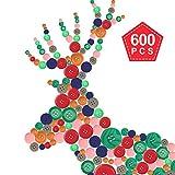 YeeStone Knöpfe Set 600 Stück Kinderknöpfe Bunte in Verschiedene Größen und Farben - zum Basteln, Nähen, Verzieren, Kinder DIY Basteln Painting, Geschenk Deko