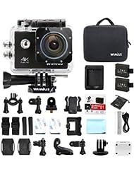 Caméra Sport 4K Wifi, WiMiUS Q1 Action Cam HD 16MP, Camera Embarquée Sport 4k 170°Grand Angle Kit d'accessoires avec 2 Batteries et Etui de Transport (Noir)