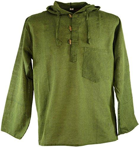 Guru-Shop Nepal Hemd Goa Hippie Sweatshirt, Herren, Olive, Baumwolle, Size:L, Männerhemden Alternative Bekleidung (Herren Hemd Olive)