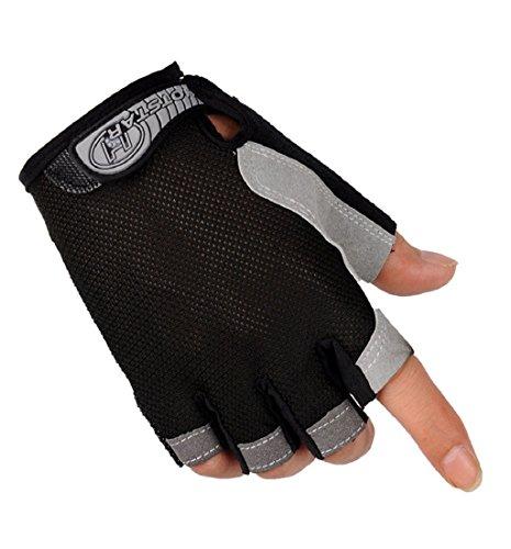 Tongshi Sport Fahrrad Radsport Bike Gel halbe Finger fingerlose Handschuhe (schwarz, M) (Gel Leder Motorrad Fingerlose Handschuhe)
