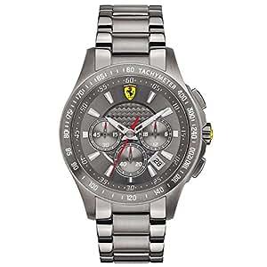 Ferrari - 830096 - Montre Homme - Quartz Analogique - Cadran Gris - Bracelet Acier plaqué Argent