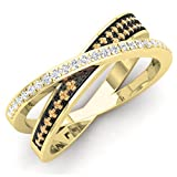 DazzlingRock Collection Anillo de Boda de Oro de 10 Quilates con Diamantes Blancos y champán Redondos de 0,20 Quilates