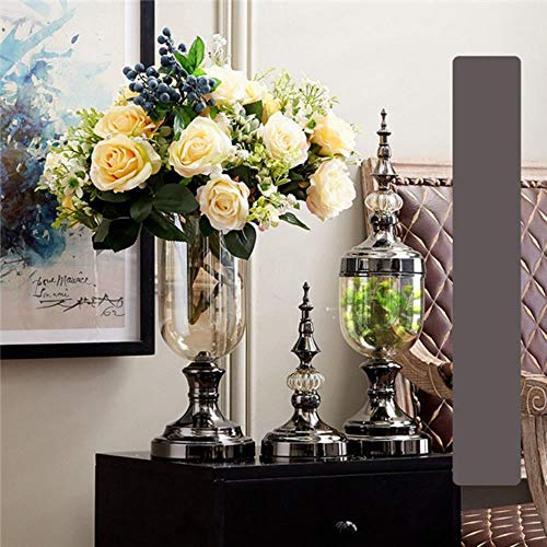 Generisches Transparent Crystal Glass Vase Simulation Blumenarrangement Innenausstattung Tisch TV Arche Home Decoration, F Set MIT Blumen Crystal Glass Vase