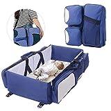 FOONEE - Lettino da Viaggio per Bebè, Borsa da Viaggio 3 in 1, Borsa per Pannolini da Viaggio, fasciatoio, Borsa per la Mamma, 75 x 40 x 20 cm (Blu/Grigio/Bianco Crema) Blue