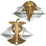 Design Toscano Art Nouveau de ángel y pavo real princesa Esculturas de pared con espejo, piedra, oro, juego de 2