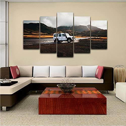 HD Druck Auf Wandbild 5 Panel Jeep Malerei Kinderzimmer Dekoration PrintPictures Wandkunst -