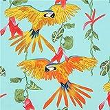 Alexander Henry Türkiser Stoff mit Papageien
