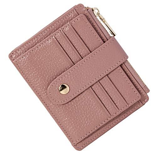 Btneeu porta carte di credito in pelle rfid blocco portafoglio sottile con portamonete, porta carte di credito con cerniera, portamonete donna piccolo portafoglio uomo slim con 9 slot schede (rosa)