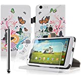 Casezilla 360 Rotating Tesco Hudl 2 8.3 inch (2014 Version) Multi-Function White Rainbow Butterfly Swirl Leather Case / Typing & Viewing Stand / Flip Case & Screen Protector & Stylus